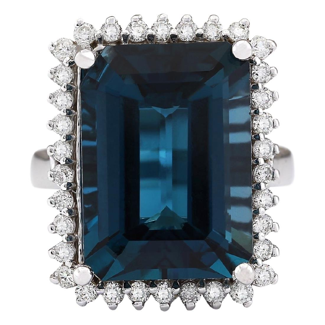 19.51 CTW Natural London Blue Topaz And Diamond Ring