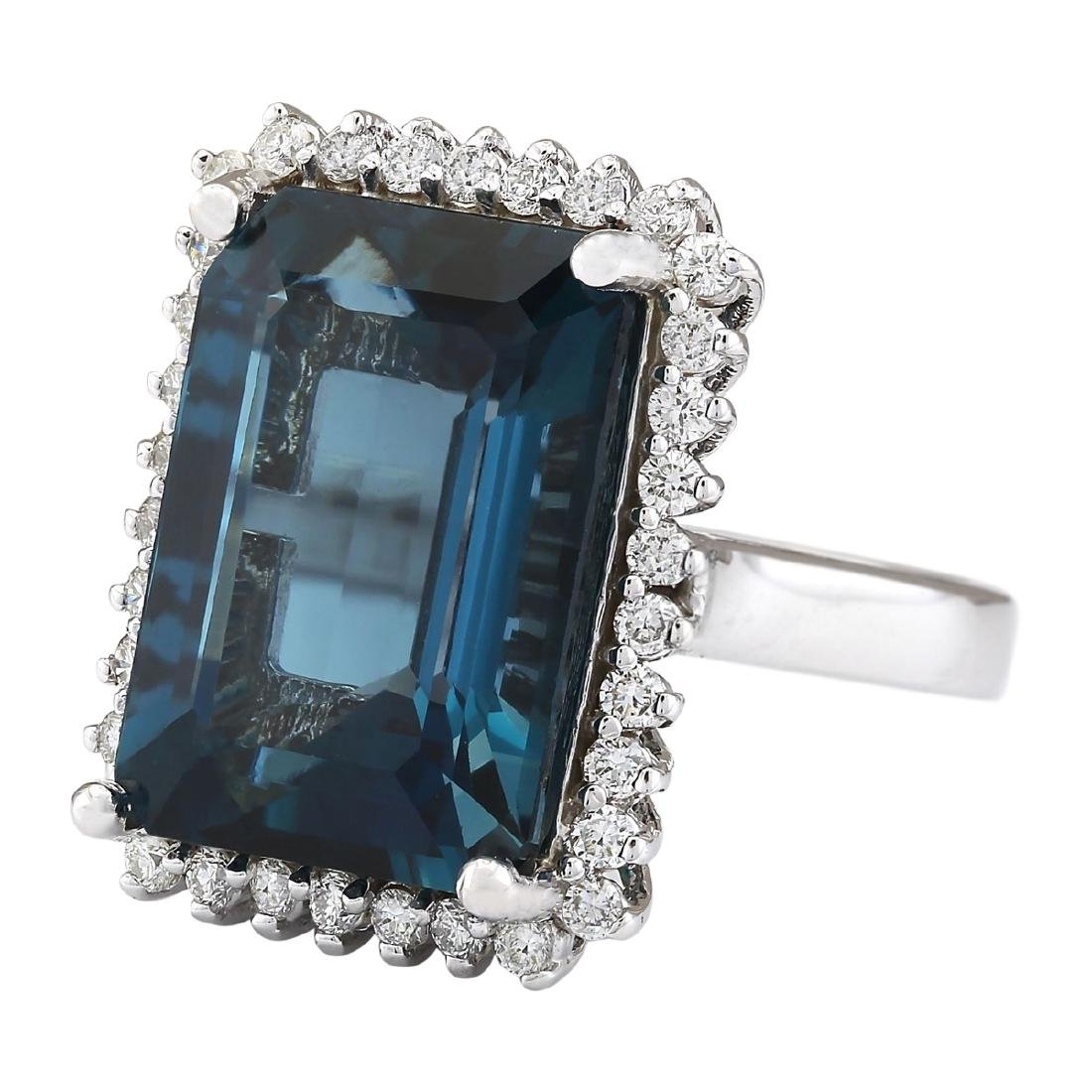 19.51 CTW Natural London Blue Topaz And Diamond Ring - 2