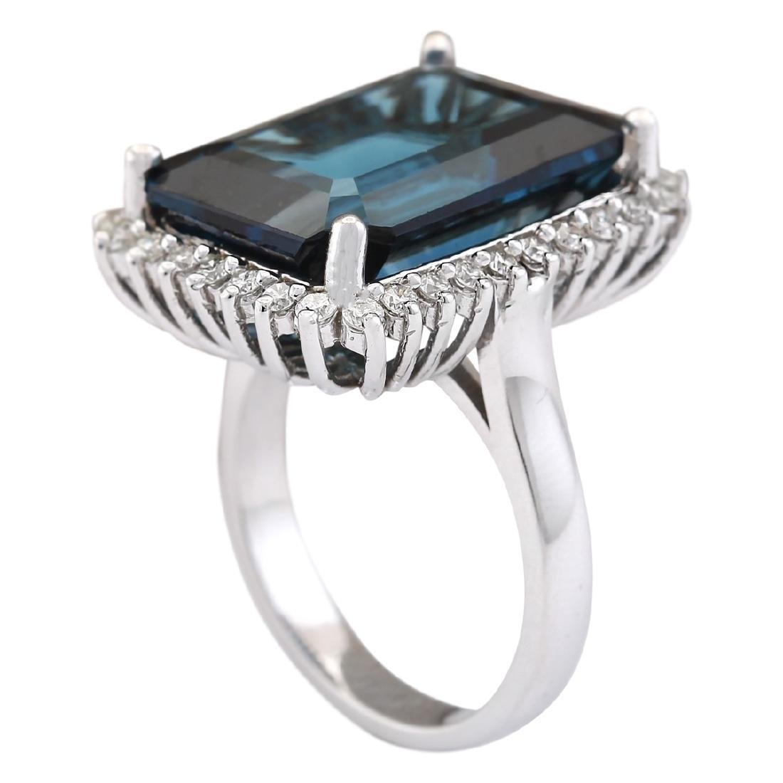19.51 CTW Natural London Blue Topaz And Diamond Ring - 3