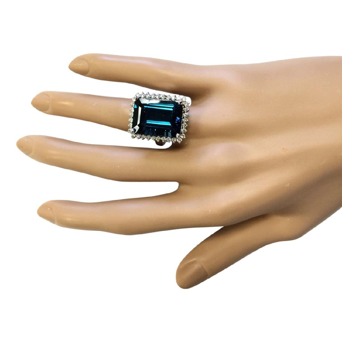19.51 CTW Natural London Blue Topaz And Diamond Ring - 4