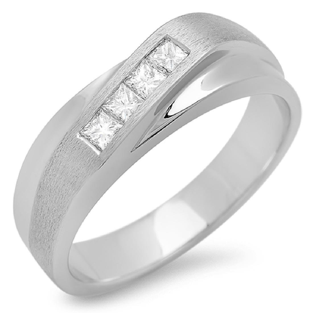 Mens 0.12 Carat Natural Diamond 18K Solid White Gold - 2