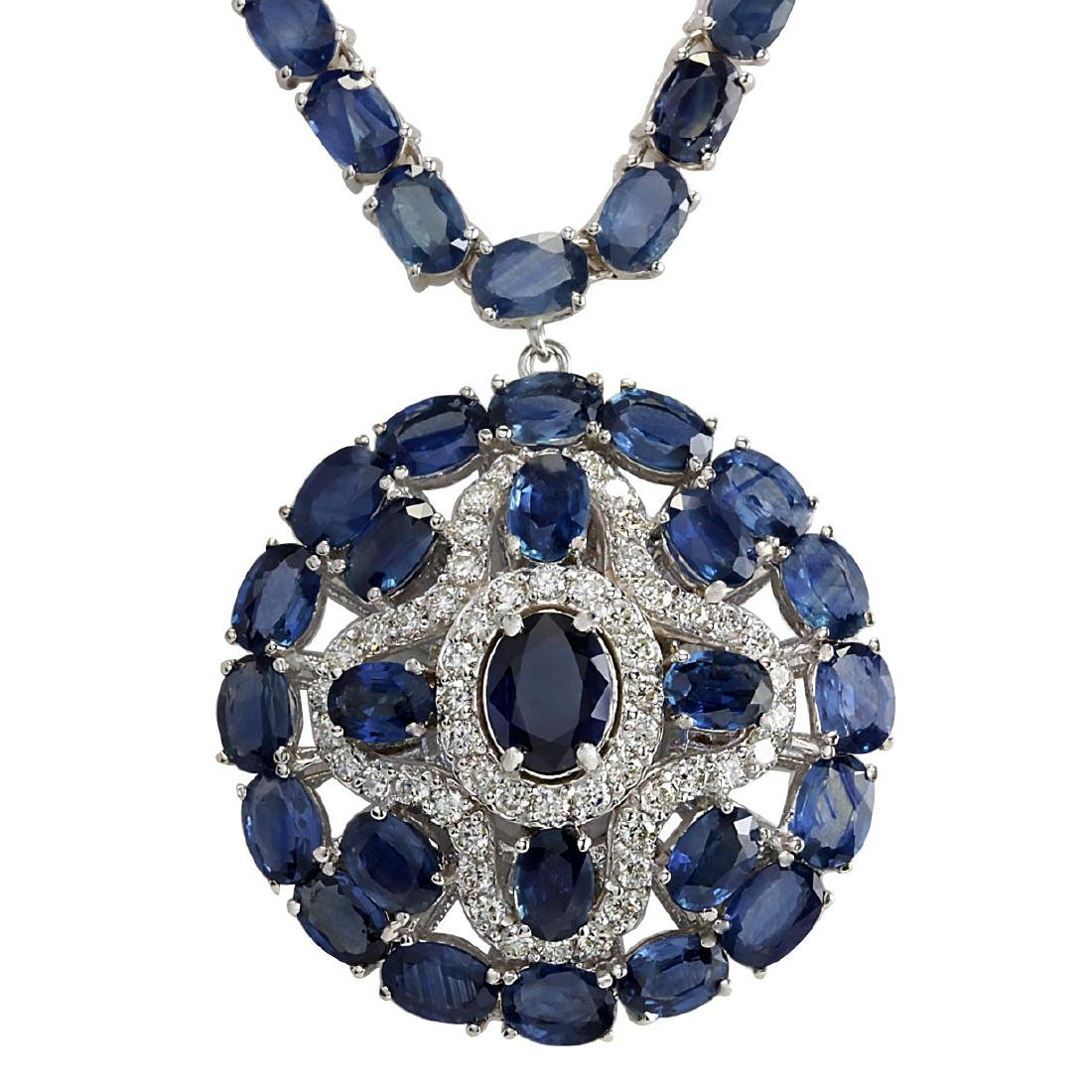 57.24CTW Natural Blue Sapphire And Diamond Necklace In