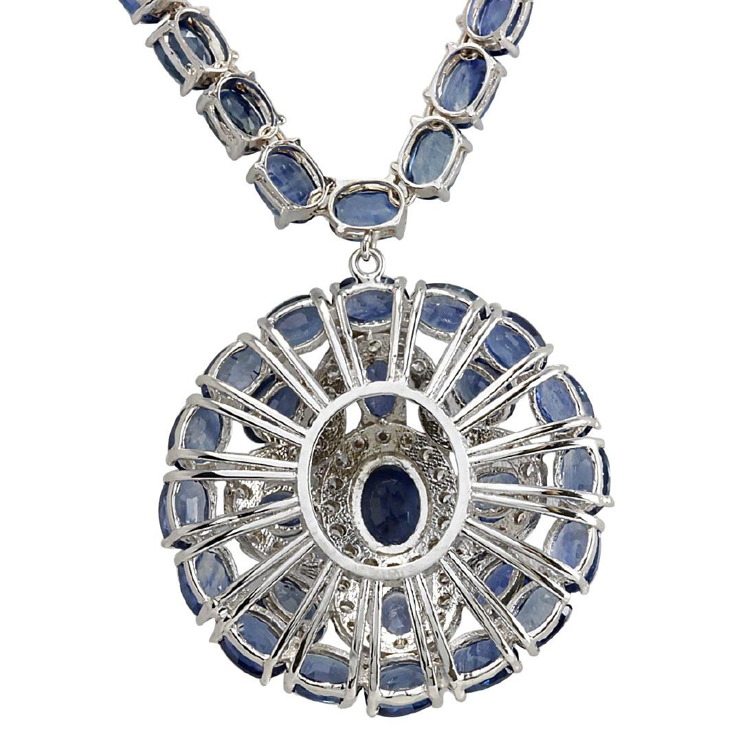 57.24CTW Natural Blue Sapphire And Diamond Necklace In - 2