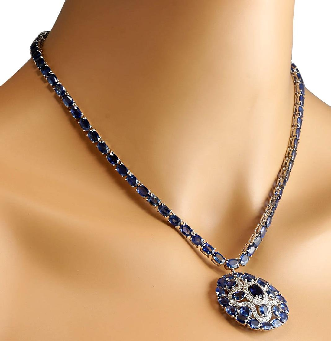 57.24CTW Natural Blue Sapphire And Diamond Necklace In - 4