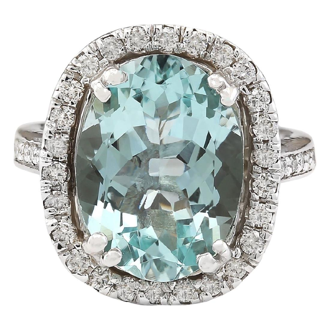 6.80 CTW Natural Aquamarine And Diamond Ring In 18K