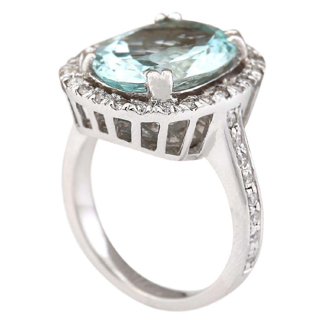 6.80 CTW Natural Aquamarine And Diamond Ring In 18K - 3