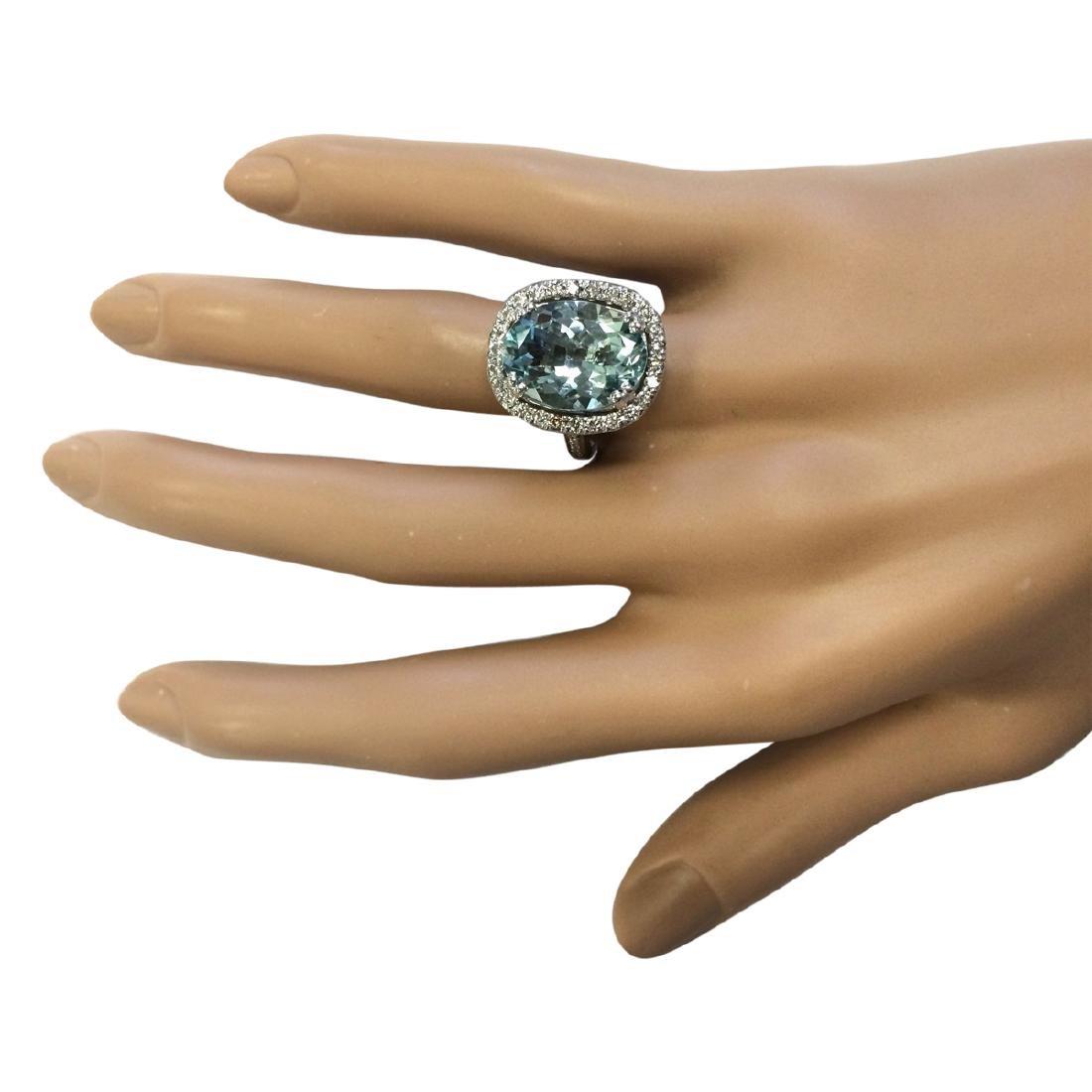 6.80 CTW Natural Aquamarine And Diamond Ring In 18K - 4