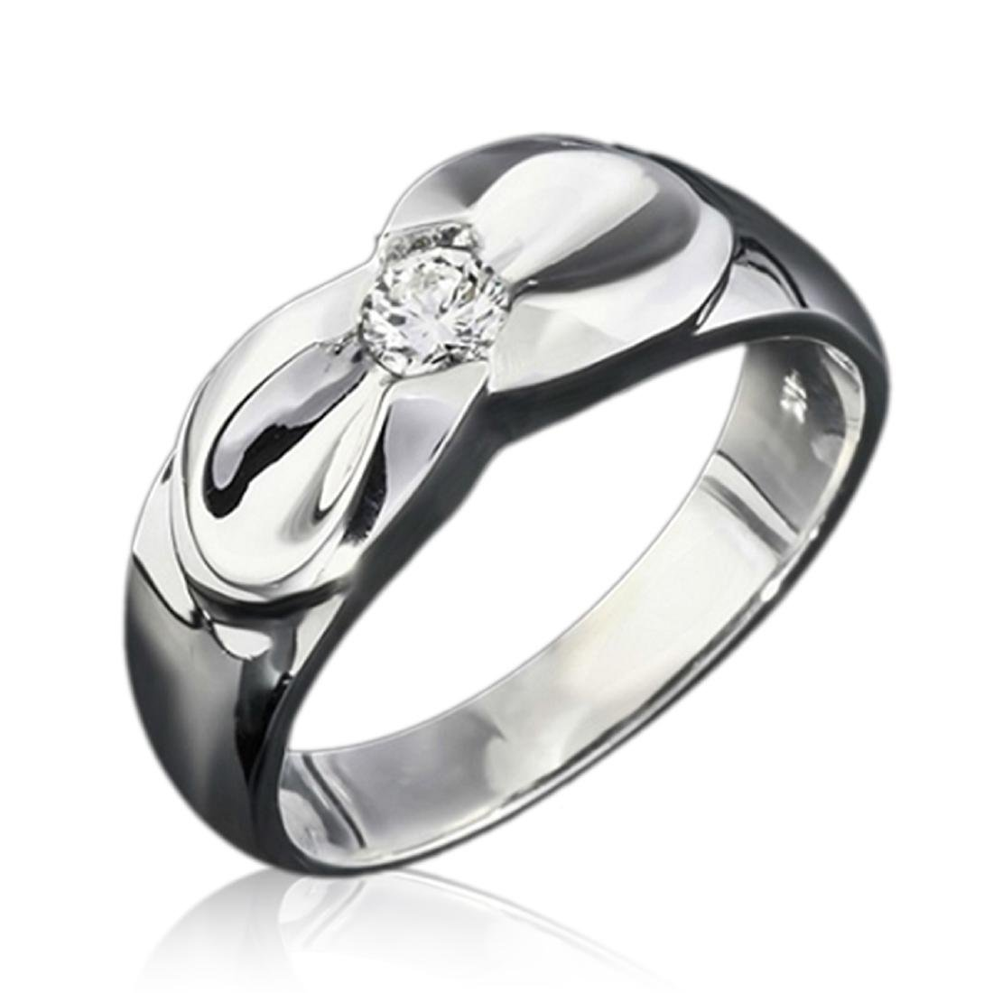 Mens 0.25 Carat Natural Diamond 18K Solid White Gold