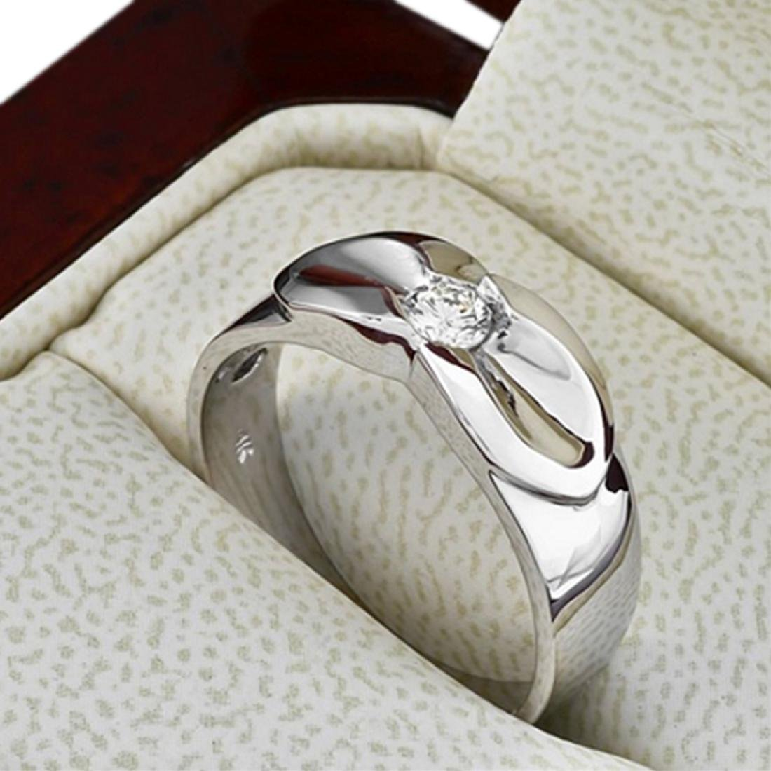 Mens 0.25 Carat Natural Diamond 18K Solid White Gold - 2