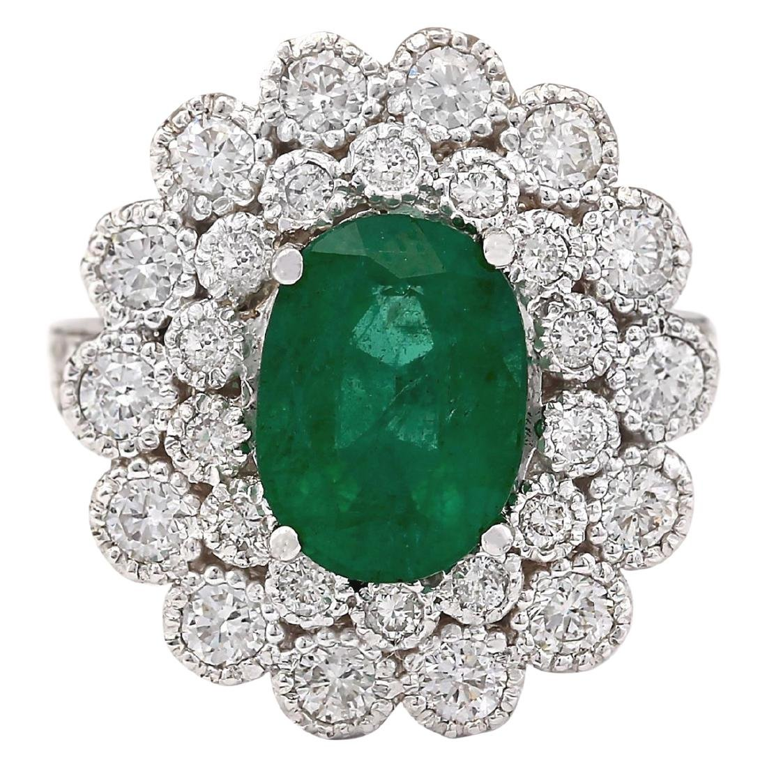 4.43 CTW Natural Emerald And Diamond Ring In 18K White