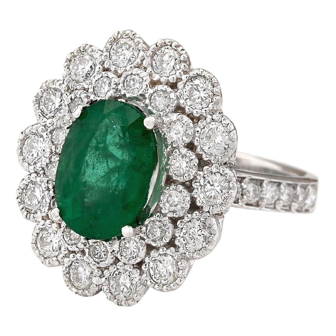 4.43 CTW Natural Emerald And Diamond Ring In 18K White - 2