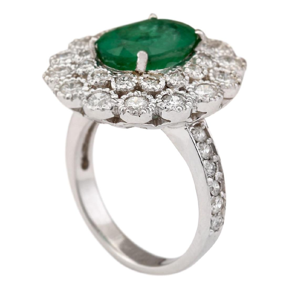 4.43 CTW Natural Emerald And Diamond Ring In 18K White - 3
