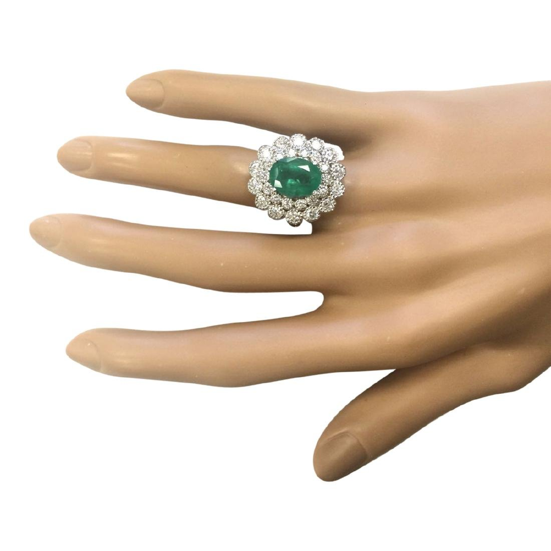 4.43 CTW Natural Emerald And Diamond Ring In 18K White - 4