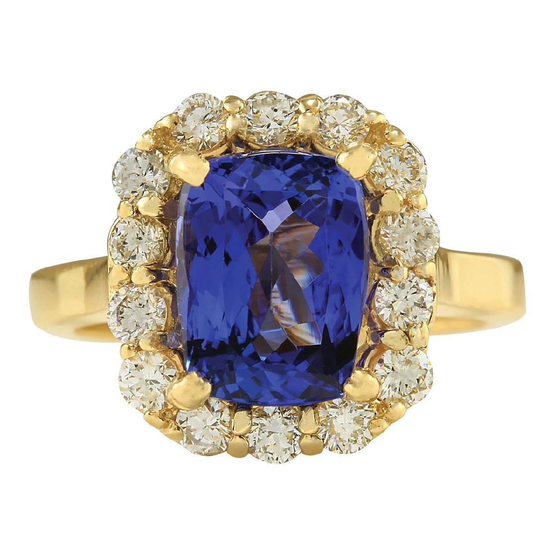 4.15CTW Natural Tanzanite And Diamond Ring In 18K