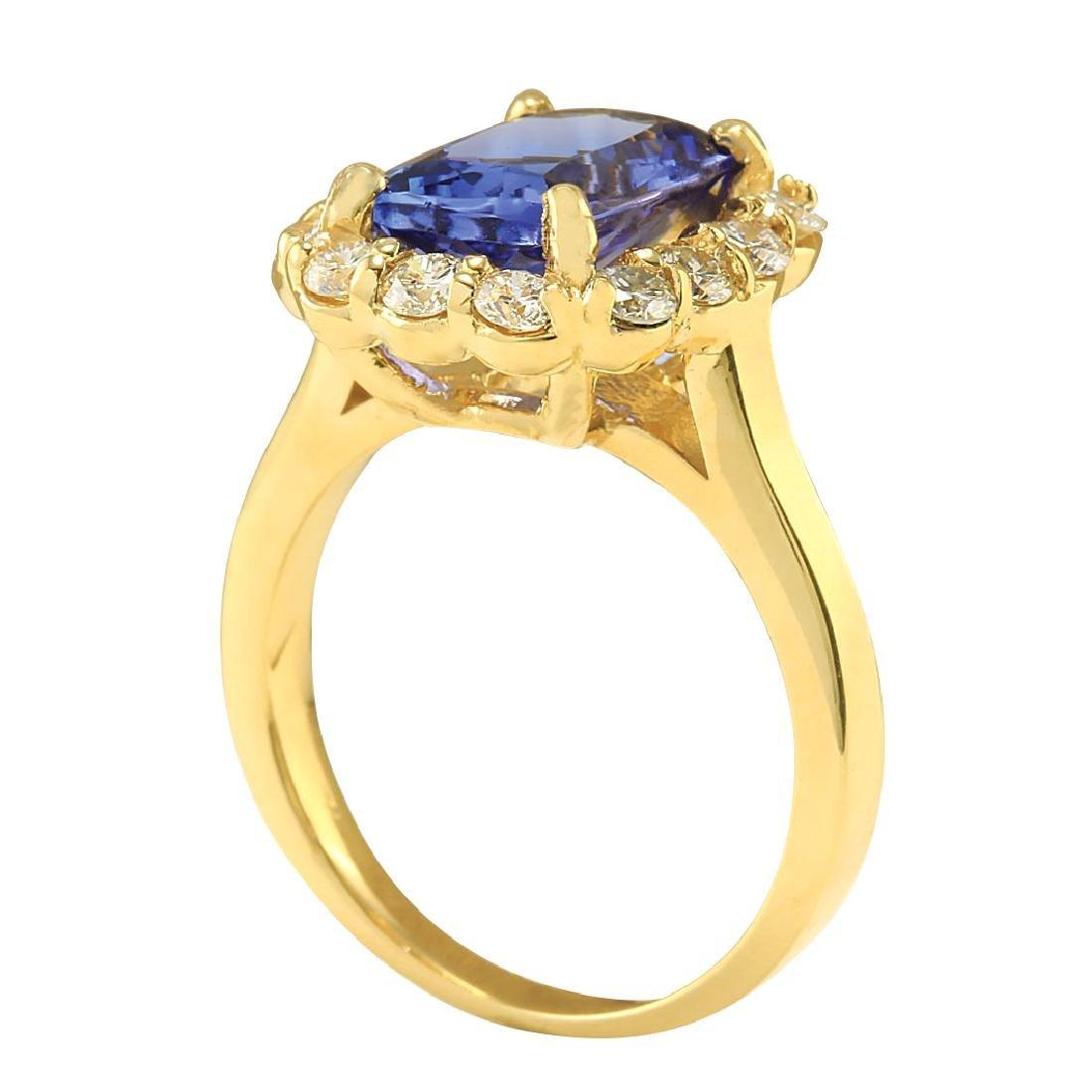 4.15CTW Natural Tanzanite And Diamond Ring In 18K - 3