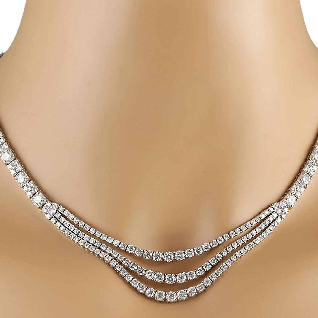 24.00 CTW Natural Diamond Necklace 18K Solid White Gold