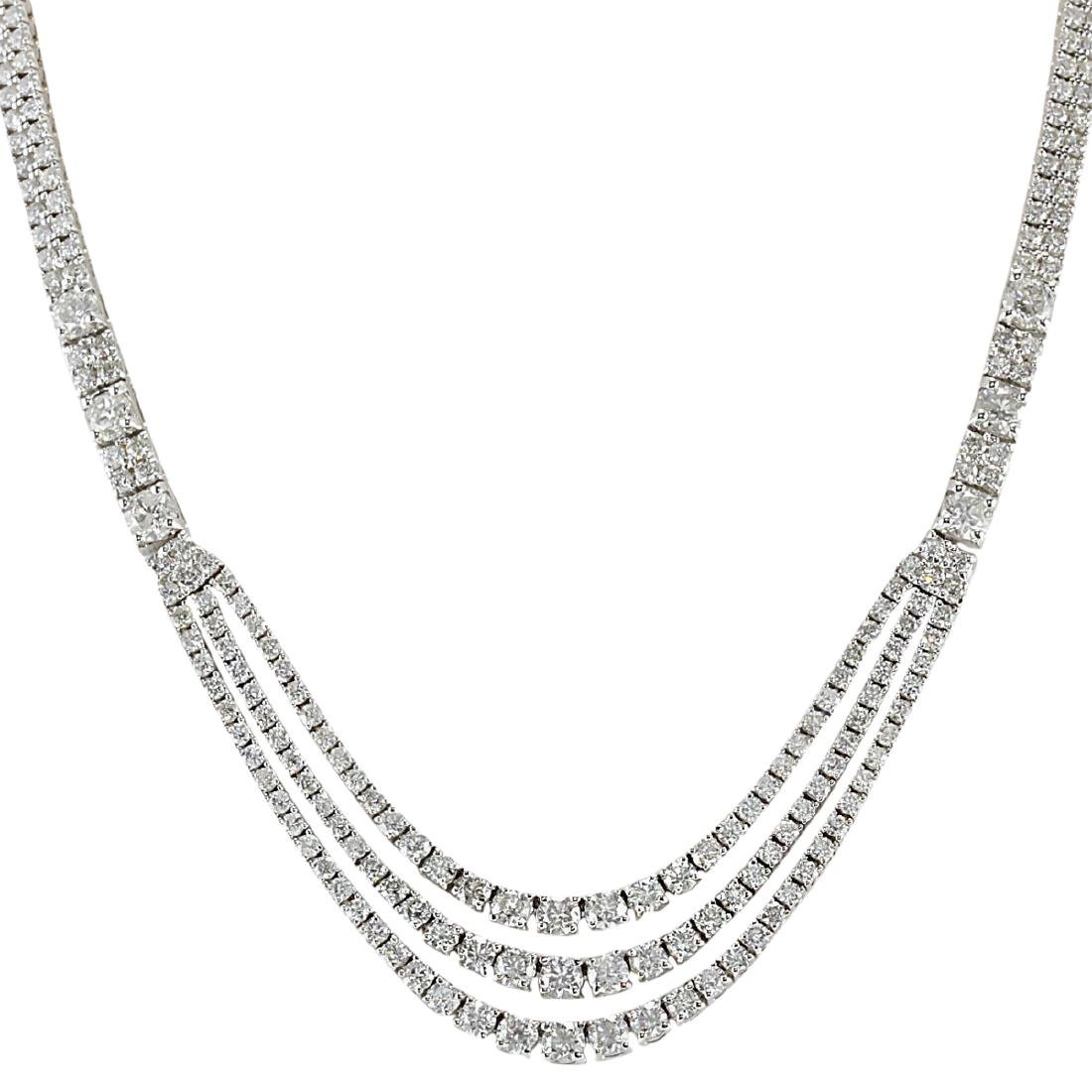 24.00 CTW Natural Diamond Necklace 18K Solid White Gold - 2