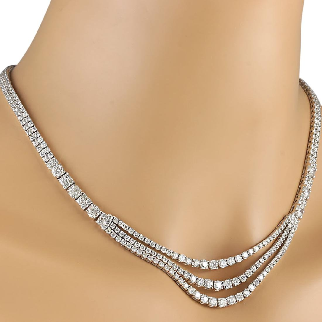 24.00 CTW Natural Diamond Necklace 18K Solid White Gold - 3