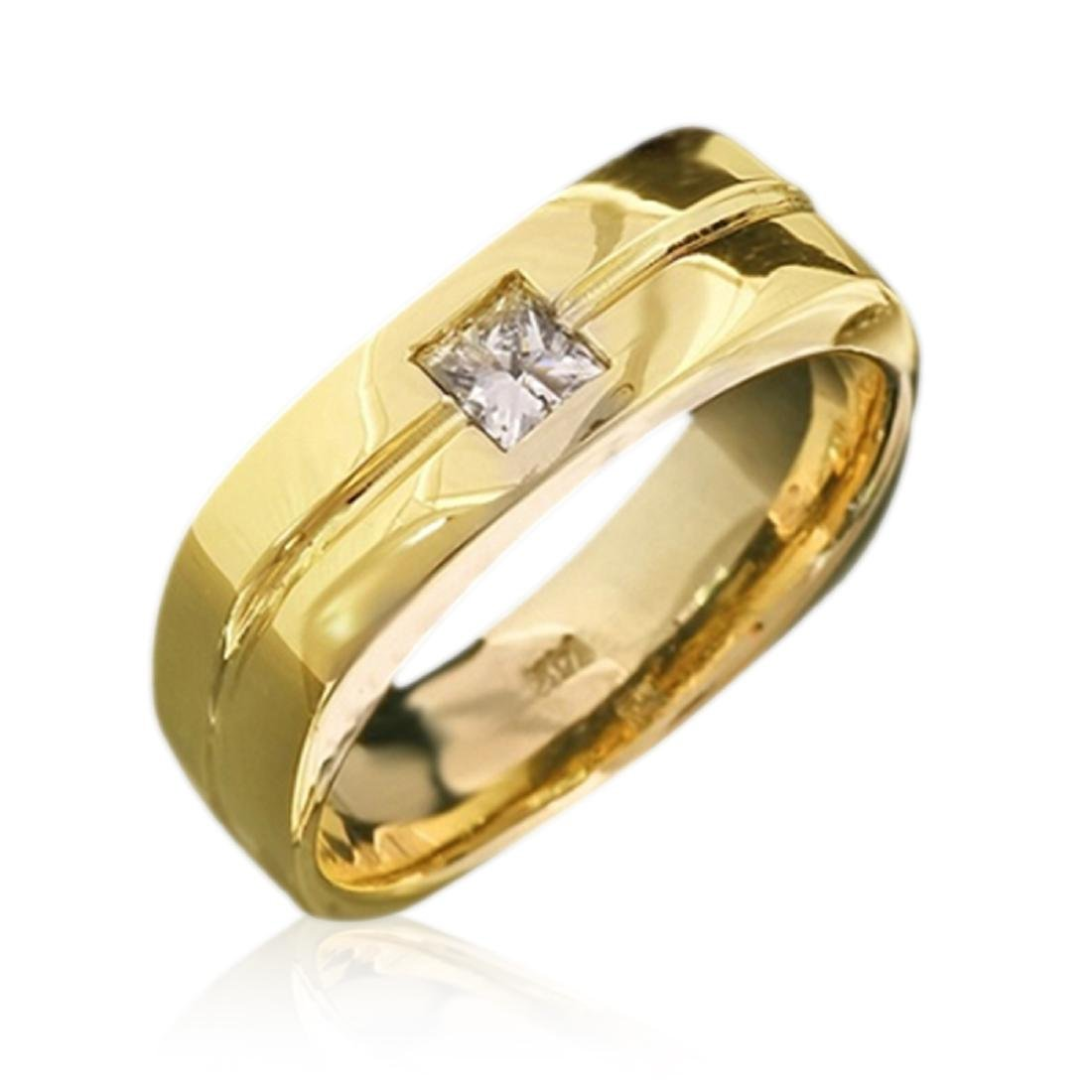 Mens 0.35 Carat Natural Diamond 18K Solid Yellow Gold