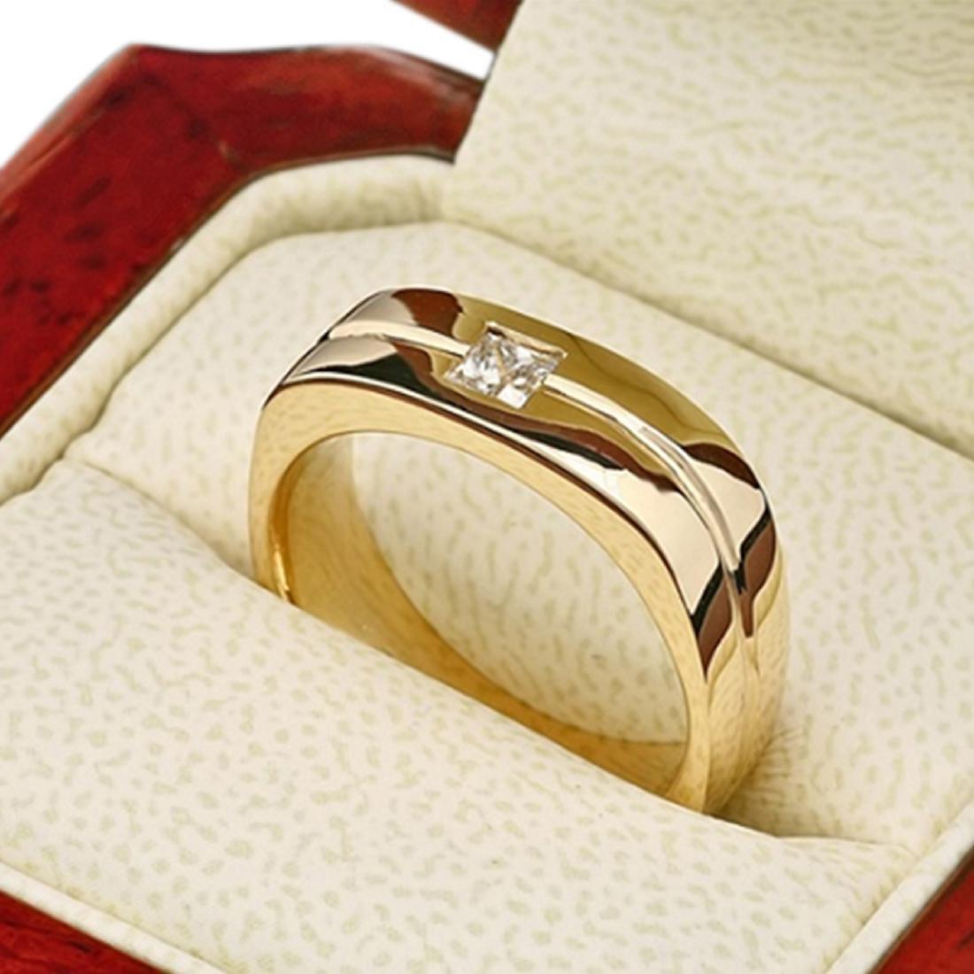Mens 0.35 Carat Natural Diamond 18K Solid Yellow Gold - 3