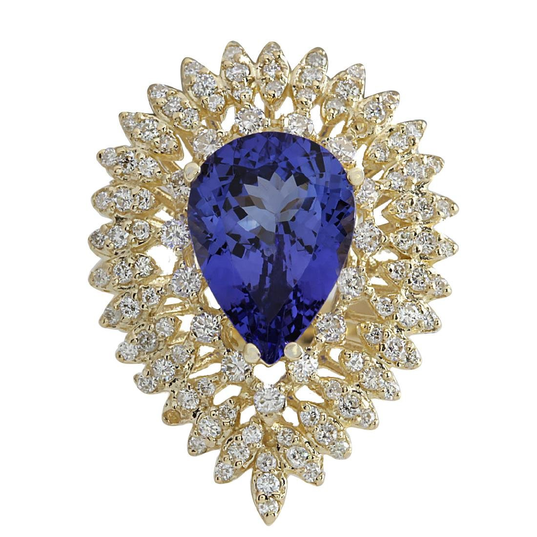 4.85CTW Natural Blue Tanzanite And Diamond Ring 18K