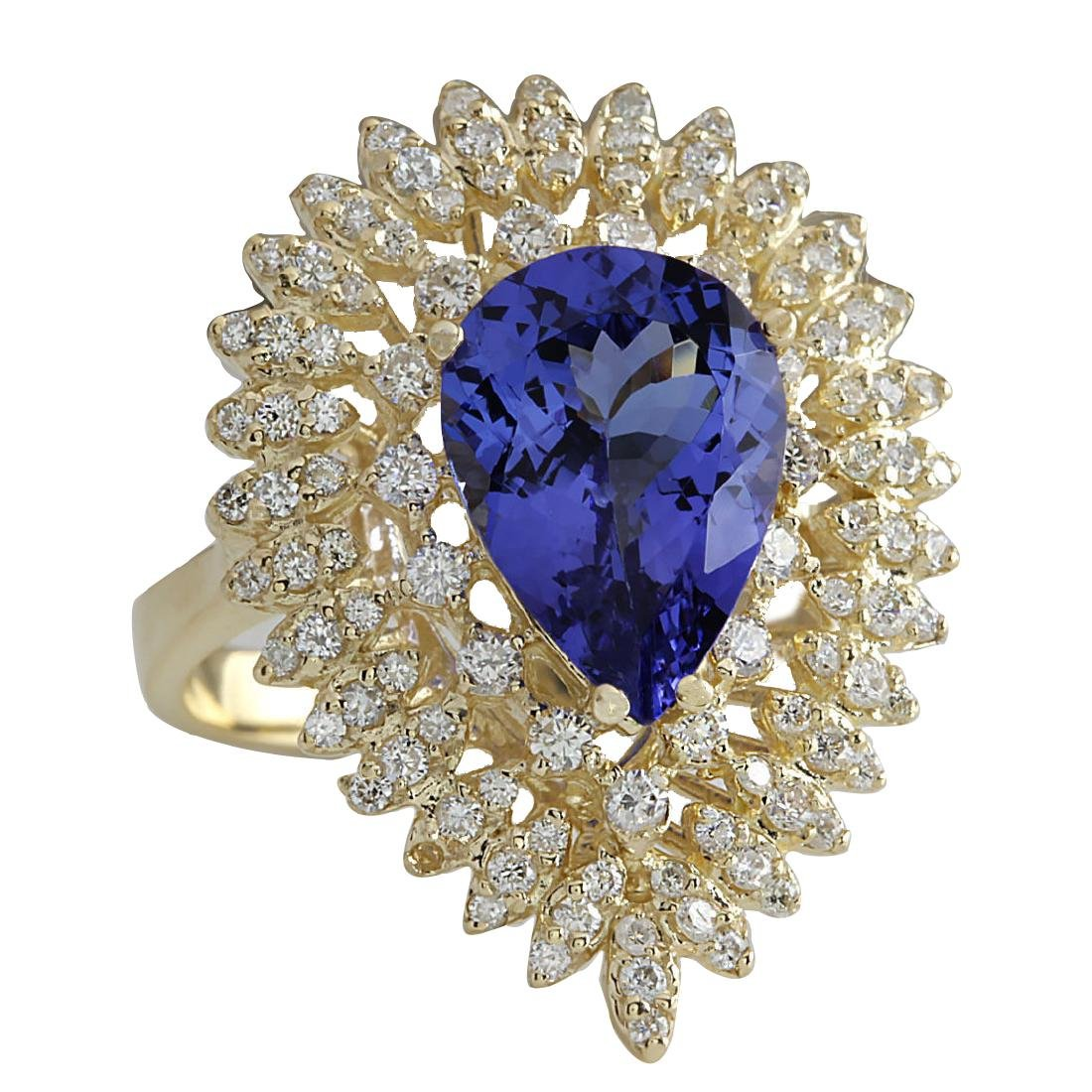 4.85CTW Natural Blue Tanzanite And Diamond Ring 18K - 2