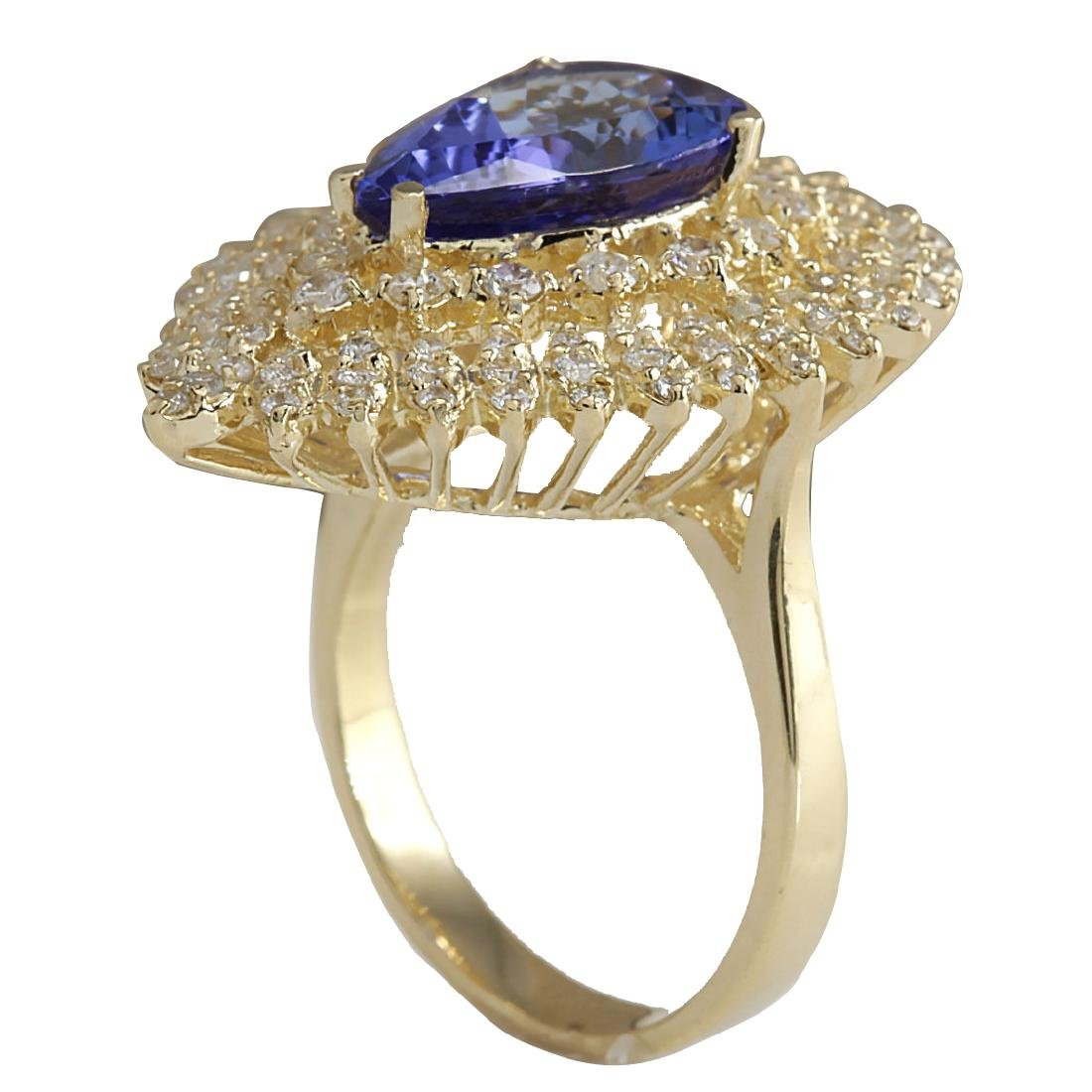 4.85CTW Natural Blue Tanzanite And Diamond Ring 18K - 3