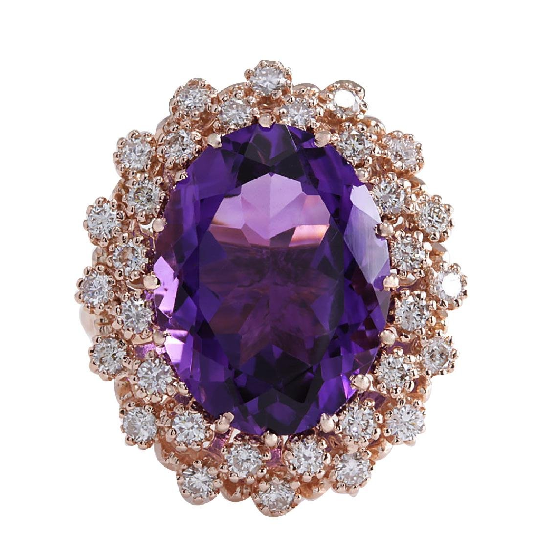 10.19CTW Natural Amethyst And Diamond Ring In 18K Solid