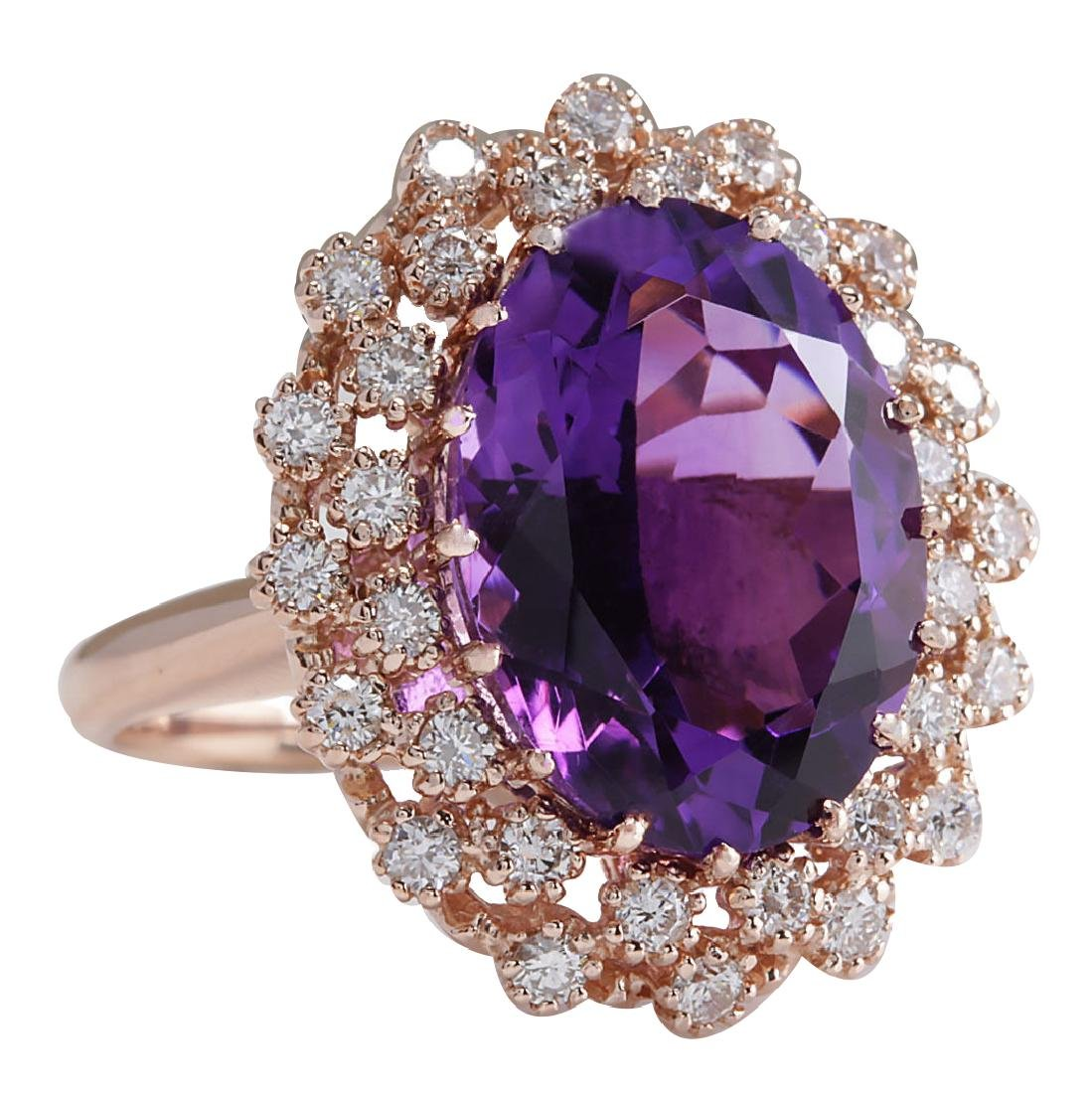10.19CTW Natural Amethyst And Diamond Ring In 18K Solid - 2