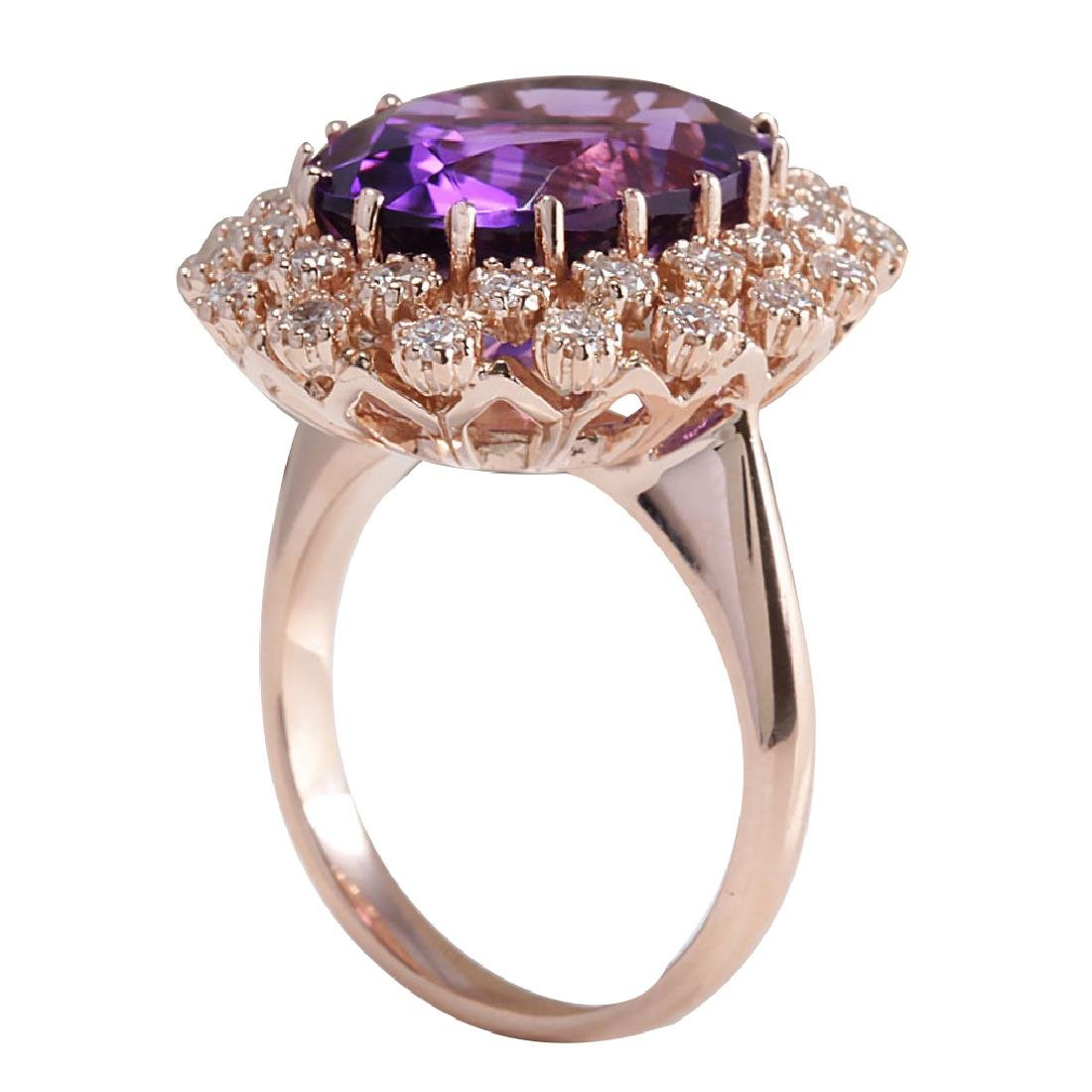 10.19CTW Natural Amethyst And Diamond Ring In 18K Solid - 3