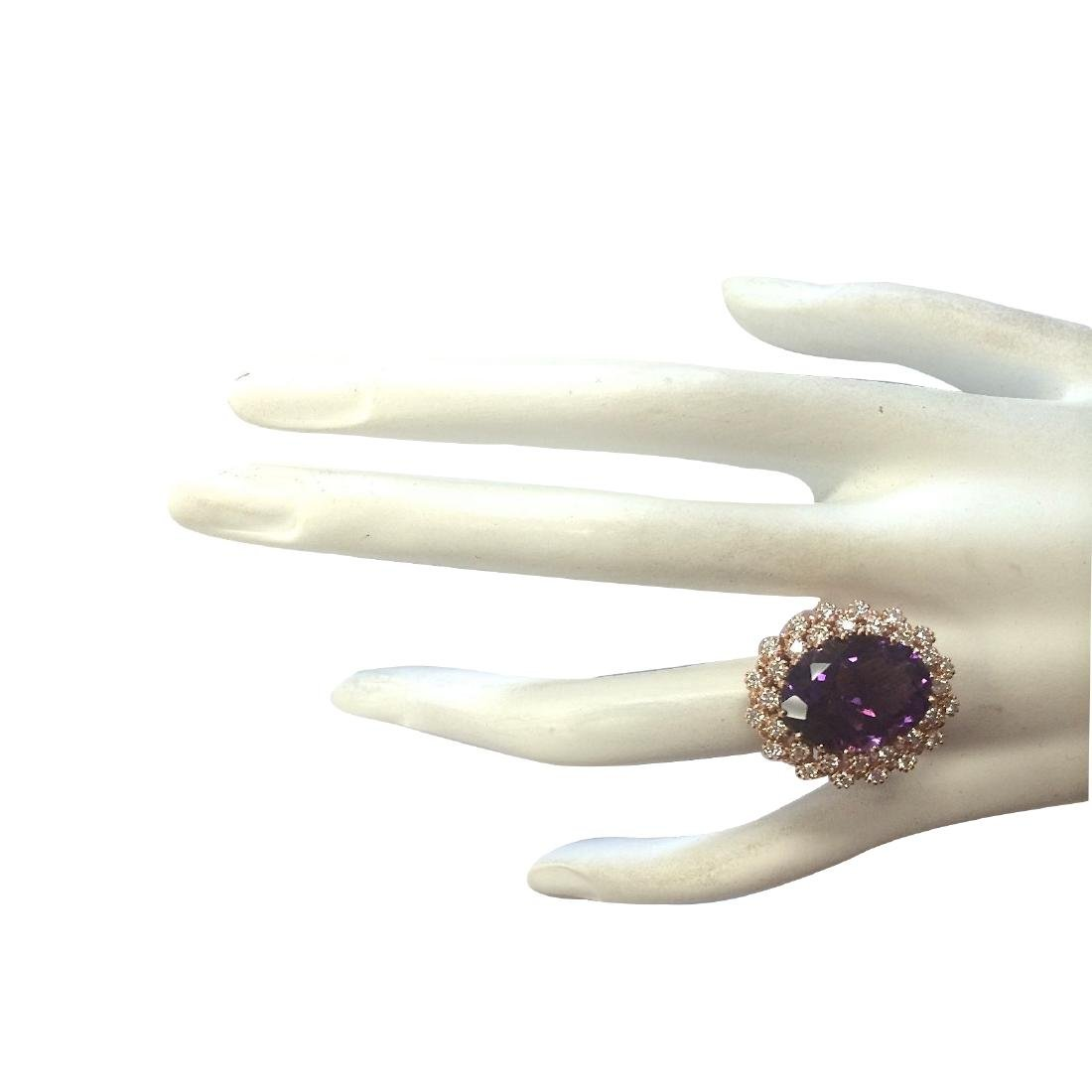 10.19CTW Natural Amethyst And Diamond Ring In 18K Solid - 4