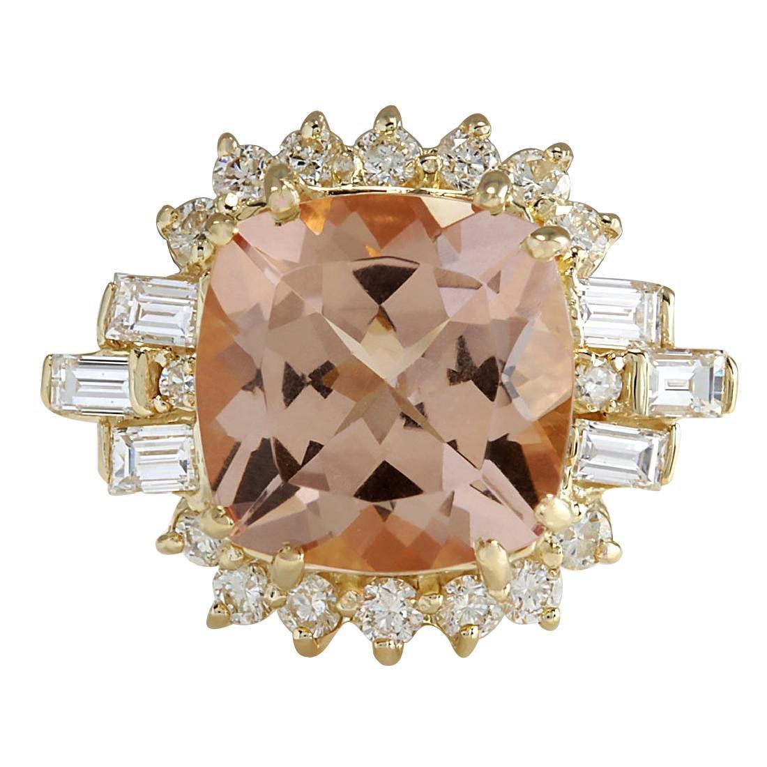 7.23CTW Natural Morganite And Diamond Ring 18K Solid