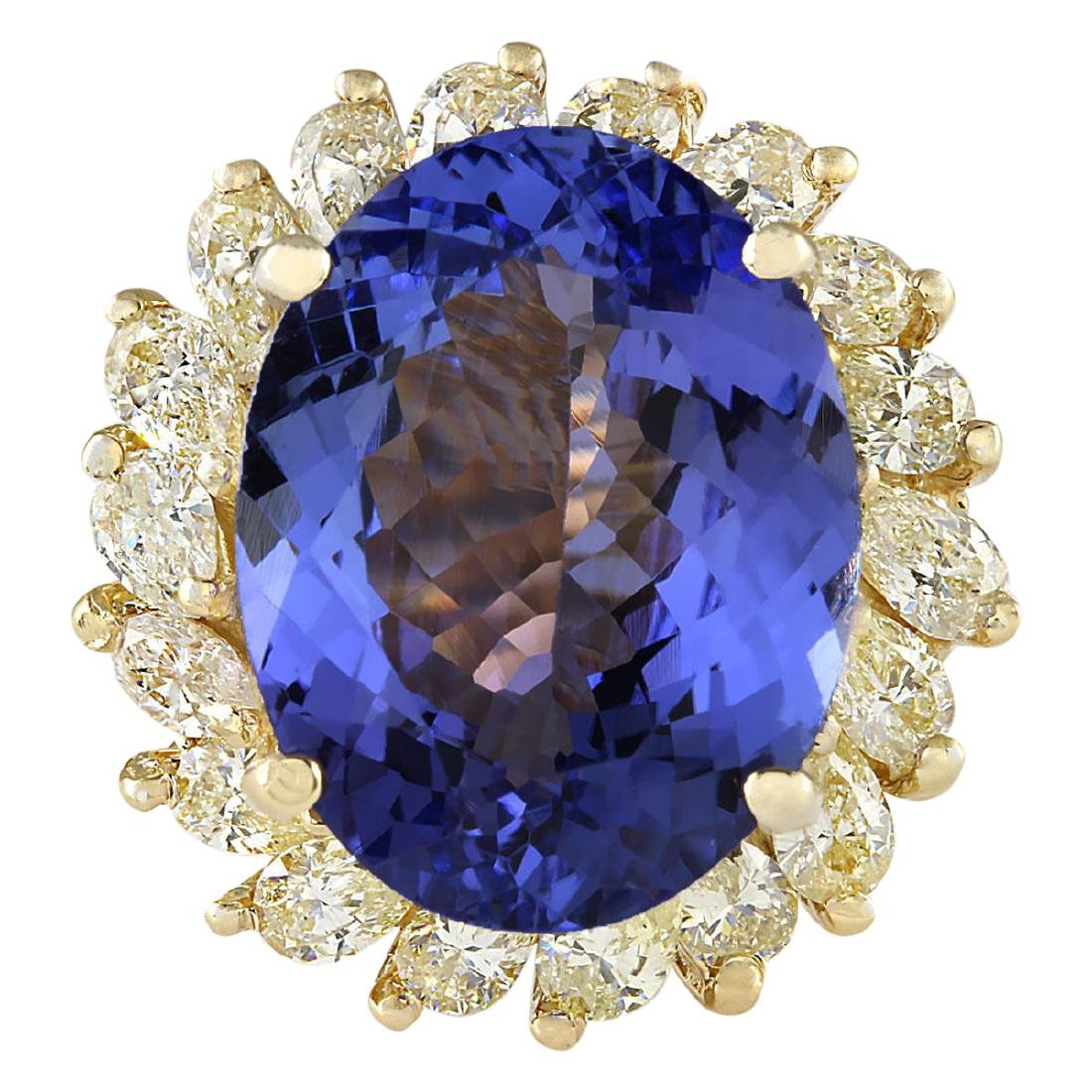 11.97 CTW Natural Tanzanite And Diamond Ring In 18K