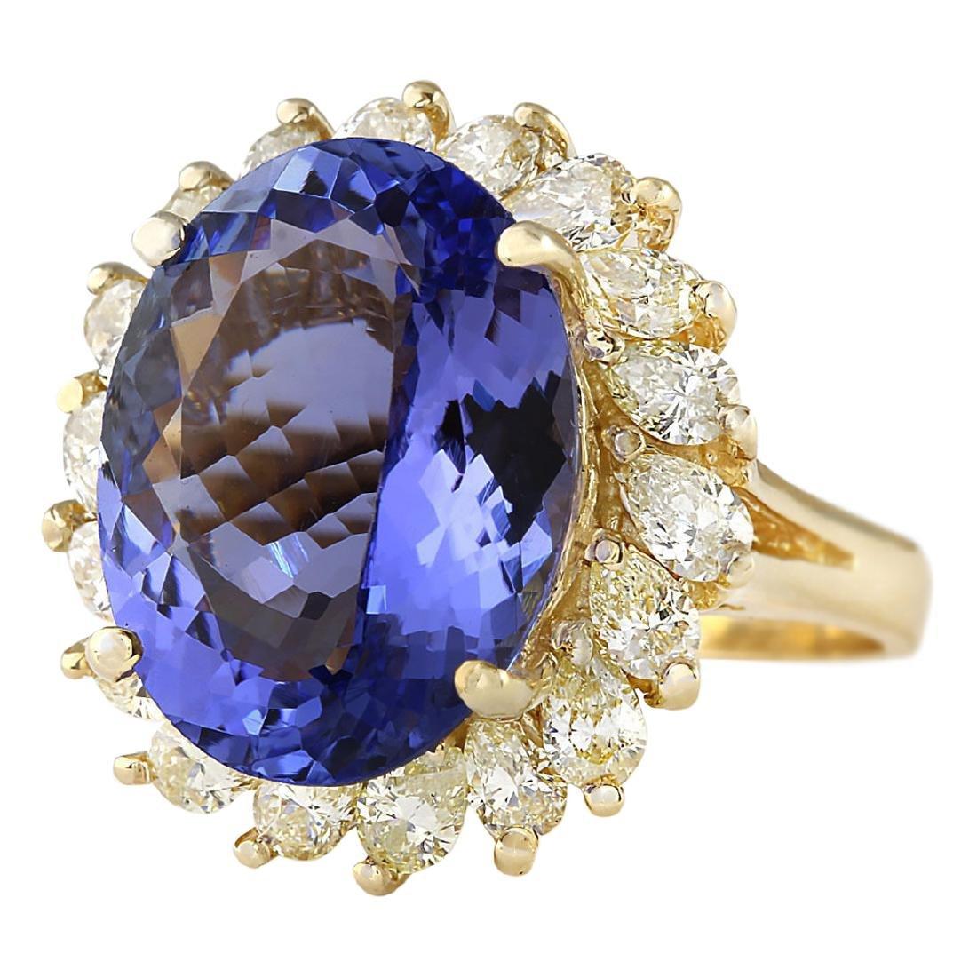 11.97 CTW Natural Tanzanite And Diamond Ring In 18K - 2