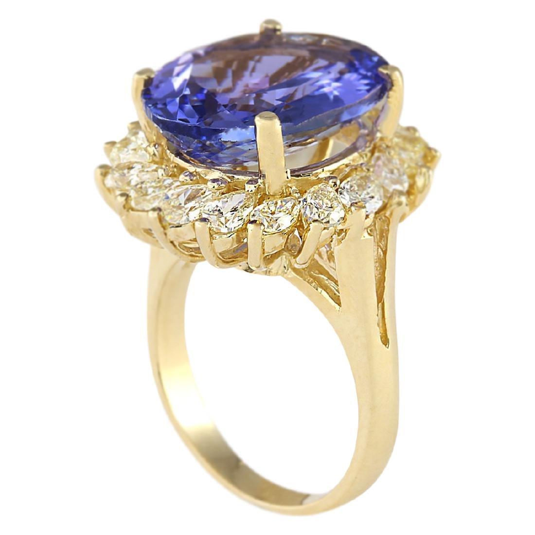 11.97 CTW Natural Tanzanite And Diamond Ring In 18K - 3