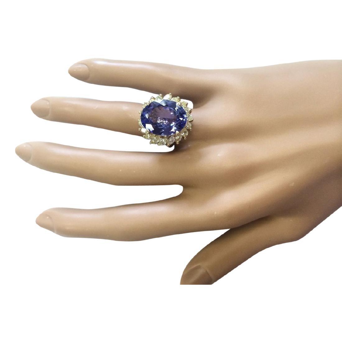 11.97 CTW Natural Tanzanite And Diamond Ring In 18K - 4