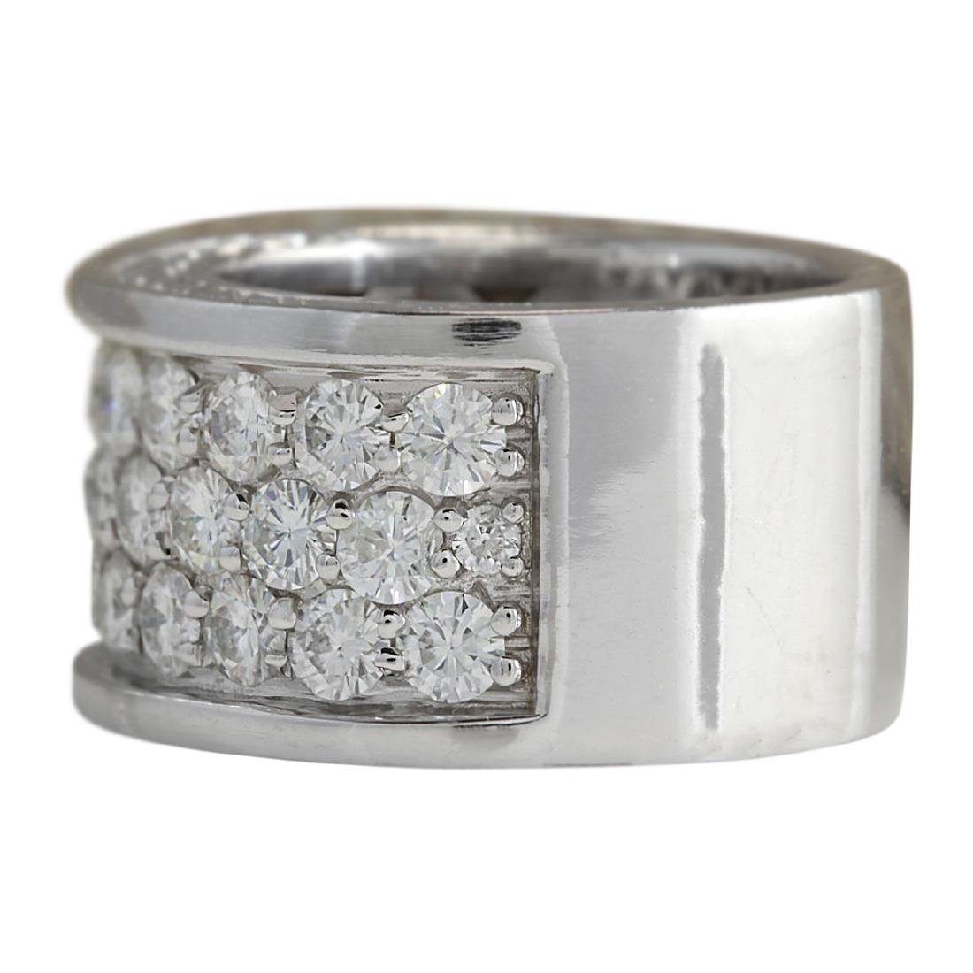4.20 CTW Natural Diamond Ring In18K Solid White Gold - 2