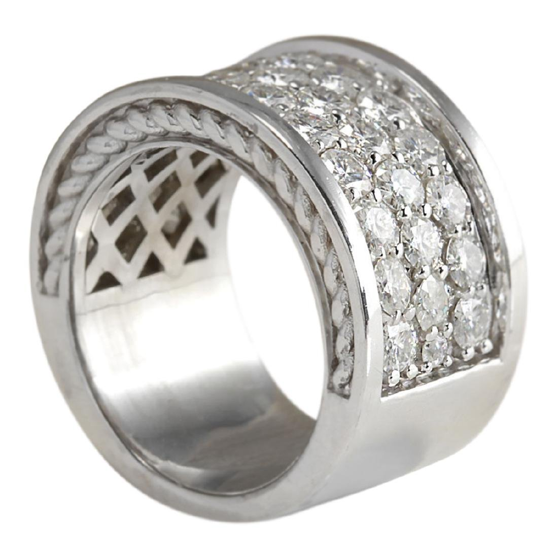 4.20 CTW Natural Diamond Ring In18K Solid White Gold - 3