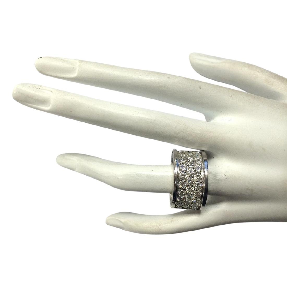 4.20 CTW Natural Diamond Ring In18K Solid White Gold - 4