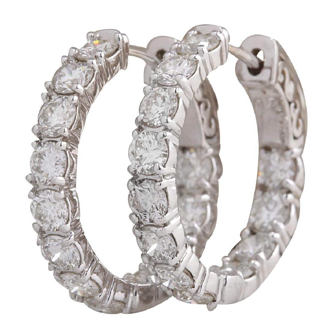 3.60CTW Natural Diamond Hoop Earrings 18K Solid White