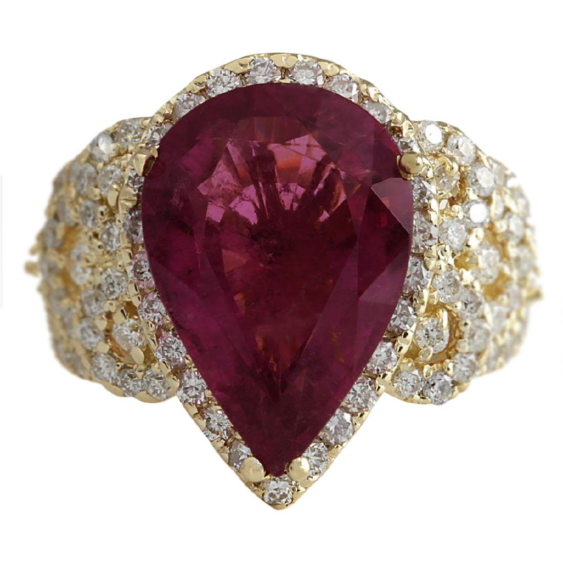 8.27 CTW Natural Rubelite And Diamond Ring 18K Solid