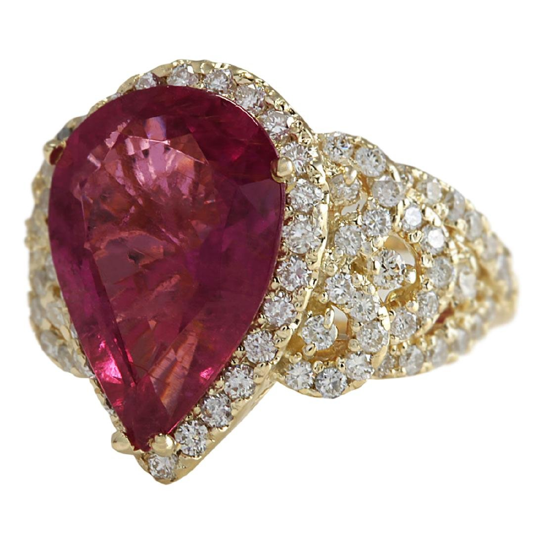 8.27 CTW Natural Rubelite And Diamond Ring 18K Solid - 2