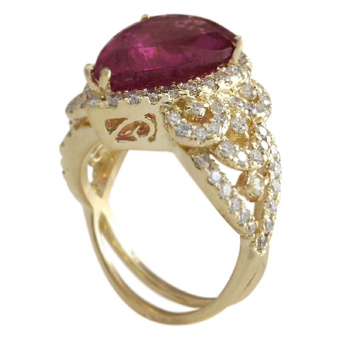 8.27 CTW Natural Rubelite And Diamond Ring 18K Solid - 3