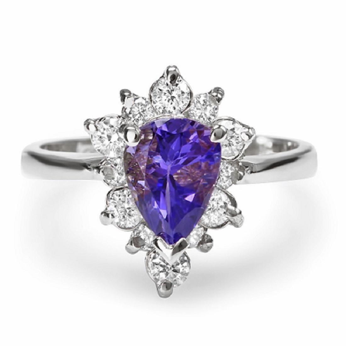1.68 Carat Natural Tanzanite 18K Solid White Gold