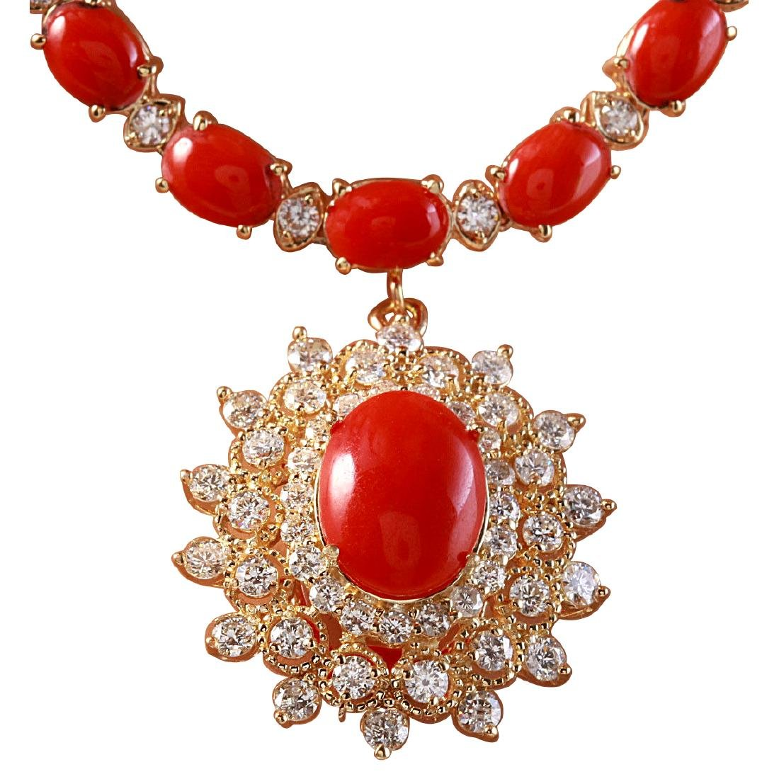 48.42CTW Natural Red Coral And Diamond Necklace In 18K