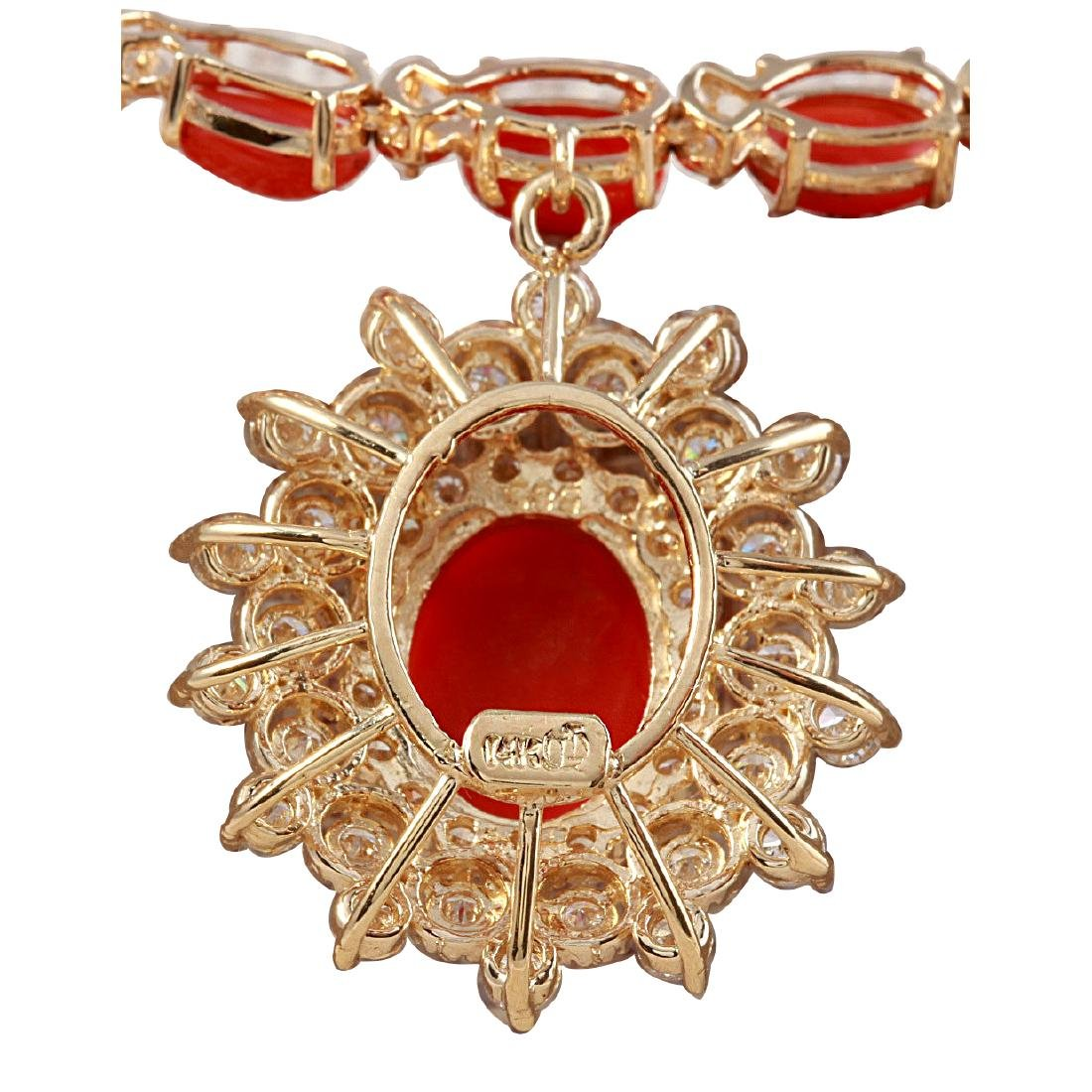 48.42CTW Natural Red Coral And Diamond Necklace In 18K - 2