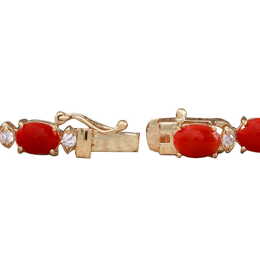 48.42CTW Natural Red Coral And Diamond Necklace In 18K - 3
