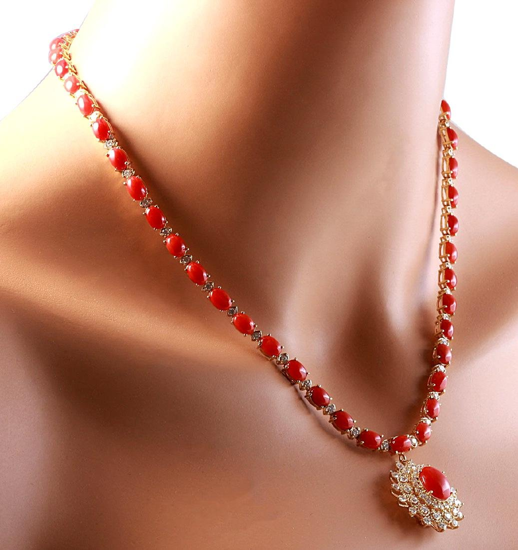 48.42CTW Natural Red Coral And Diamond Necklace In 18K - 4