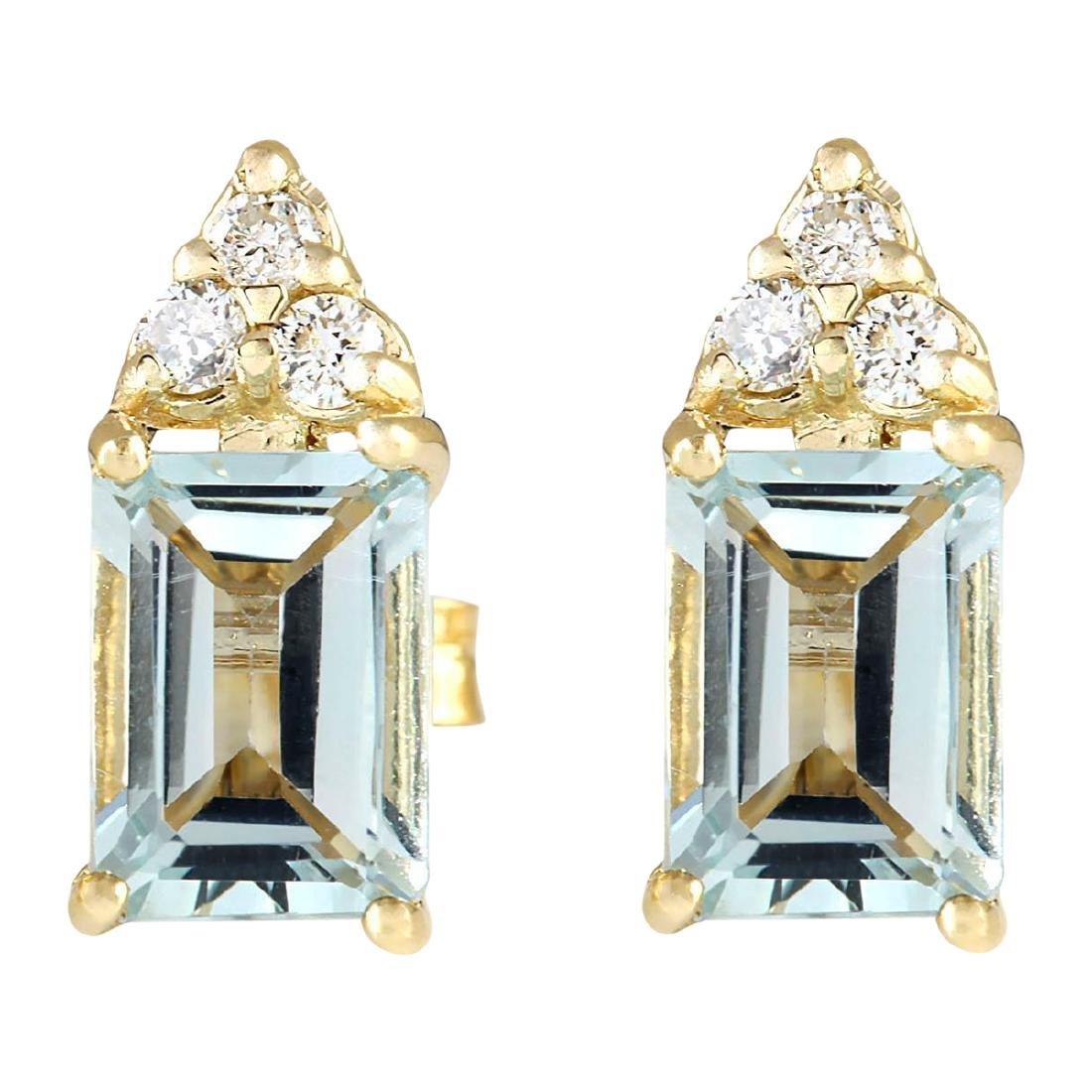 2.65 CTW Natural Aquamarine And Diamond Earrings 18K