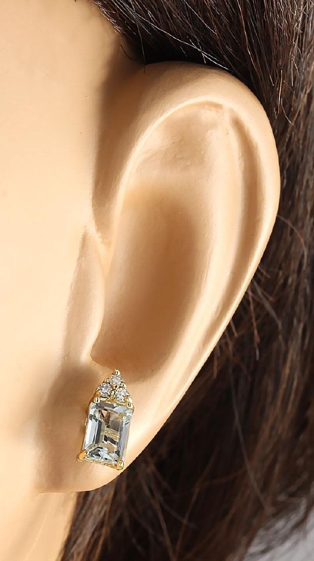 2.65 CTW Natural Aquamarine And Diamond Earrings 18K - 3